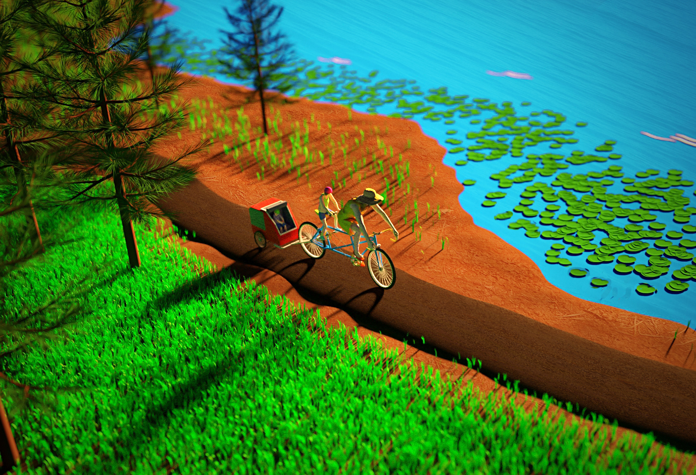 """Full render shot of """"A family on a stroll"""", riding bike on a bike path, through the woods and lake at top right side"""
