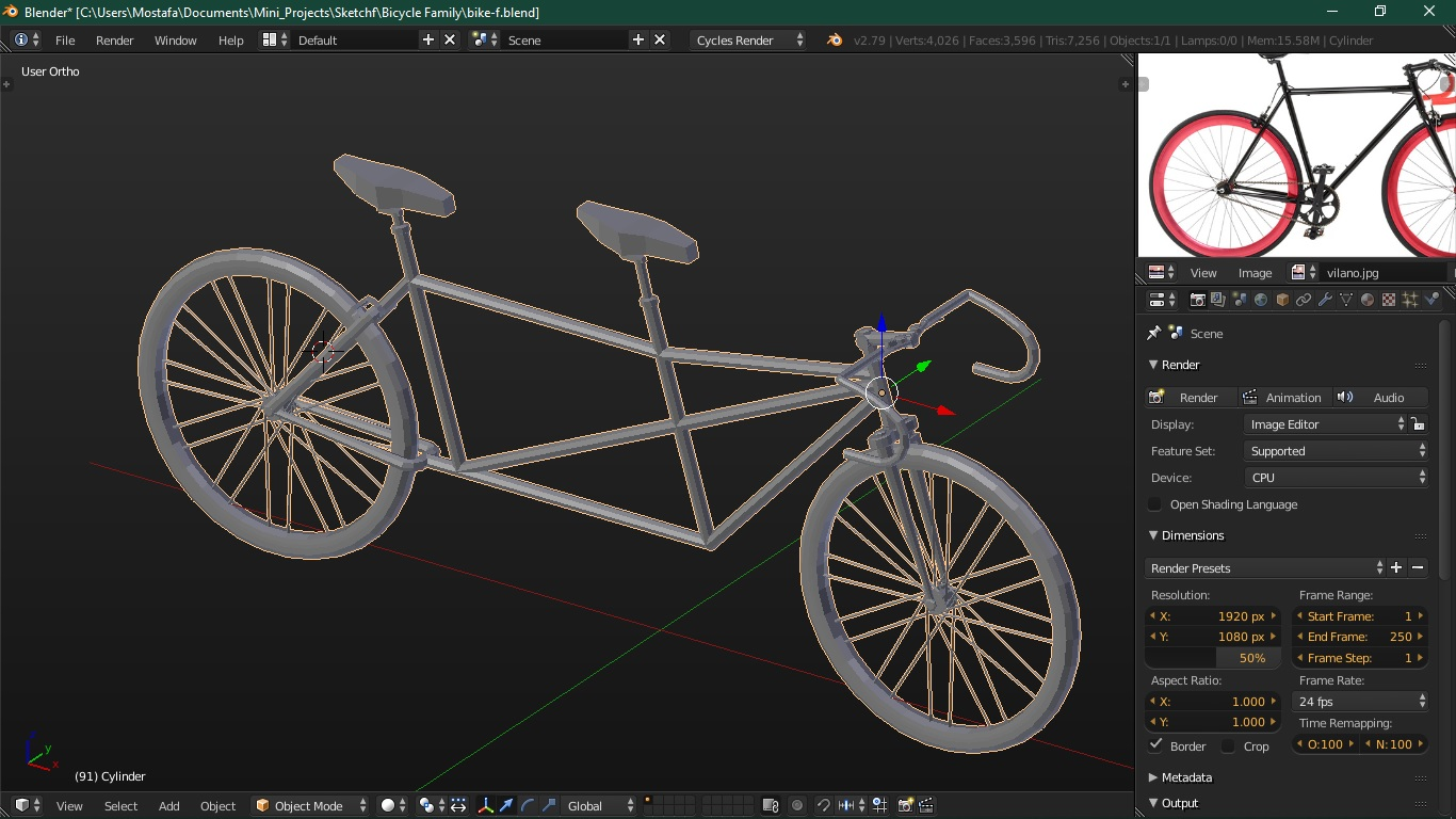 A screenshot of Blender UI, showing the complete model of the bicycle